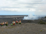 Volcanoes National Park: Halema'uma'u Crater with offerings to Pele
